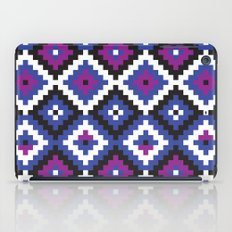 Aztec pattern - blue, purple, black, white iPad Case