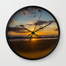 Sunset North Sea Waves Denmark Bjerregard Beach 6 Wall Clock