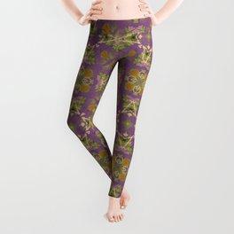Brigid green and purple geo floral pattern Leggings