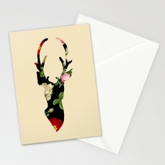 Flower Deer Silhouette Stationery Cards