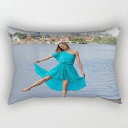 girl on the river Rectangular Pillow
