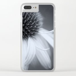 Black and White Coneflower Clear iPhone Case