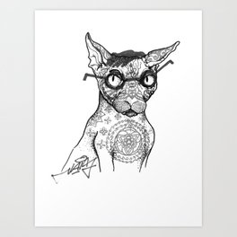 Tattoo cat Art Print
