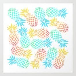 Colorful pineapple pattern Art Print