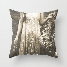 Flower Child 2 Black and White Throw Pillow