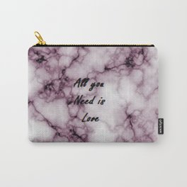 Pink Grey Marble All you need is Love | Marbre Rose Gris Carry-All Pouch