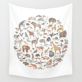 100 animals Wall Tapestry