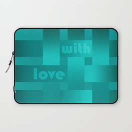 A satin ribbon .Turquoise background . With love. Laptop Sleeve