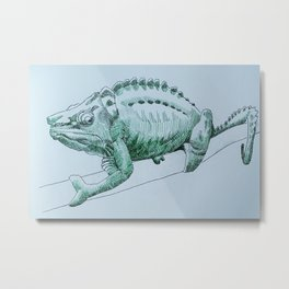 Green chameleon pen and ink Metal Print