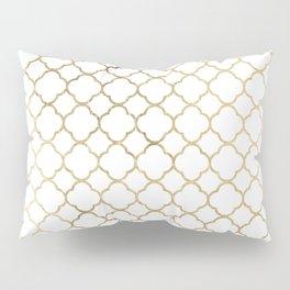 Elegant stylish white faux gold quatrefoil Pillow Sham