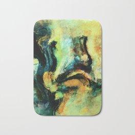 Yellow and Green Abstract Art / Surrealist Painting Bath Mat