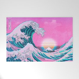 Vaporwave Aesthetic Great Wave Off Kanagawa Synthwave Sunset Welcome Mat