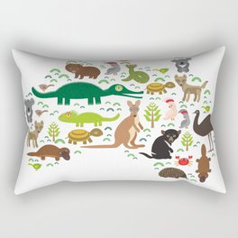 map of Australia. Echidna Platypus ostrich Emu Tasmanian devil Cockatoo parrot Wombat snake turtle Rectangular Pillow