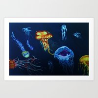 jelly fish Art Prints featuring Jelly-Jelly-Fish by Fknjedi1