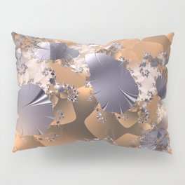 Platinum leaves and fractal vines on gold and copper background Pillow Sham