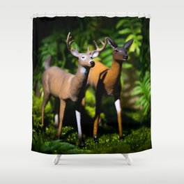Buck and Doe Deer in the Forest Shower Curtain