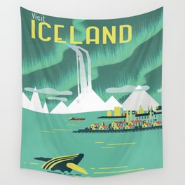 Vintage Mid Century Modern Iceland Scandinavian Travel Poster Ocean Whale Winter Village Wall Tapestry