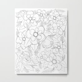 Floral Outlines Metal Print