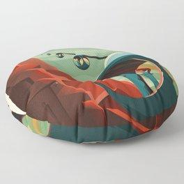 THE VOLCANO OF MARS - Olympus Mons   Space   X   Retro   Vintage   Futurism   Sci-Fi Floor Pillow
