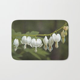 White Bleeding Hearts with Green Bath Mat