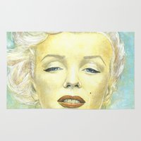 comic book Area & Throw Rugs featuring Marilyn Monroe comic book cover by Storm Media
