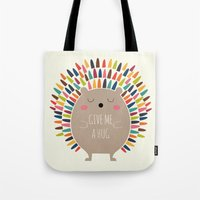 hug Tote Bags featuring Give Me A Hug by Andy Westface