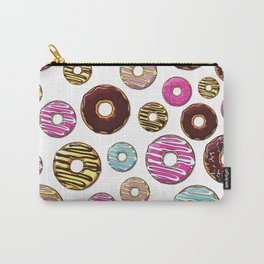 Donut Pattern, Colorful Donuts - Pink Blue Yellow Carry-All Pouch
