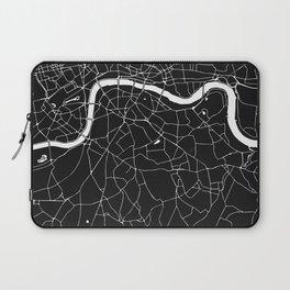 London Black on White Street Map Laptop Sleeve