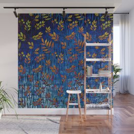 Royal blue and gold fall leaf pattern, modern,chic,Royal blue, gold ,fall leaf, pattern, modern,chic Wall Mural