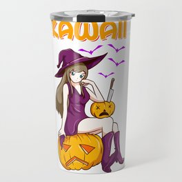 Kawaii Girl Halloween Anime Witch Waifu  Travel Mug