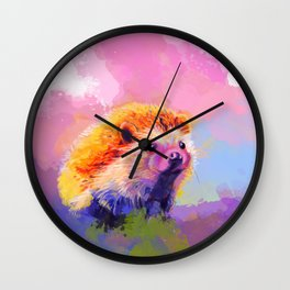 Sweet Hedgehog, cute pink and purple animal painting Wall Clock