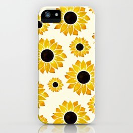 Sunflower Watercolor Pattern iPhone Case