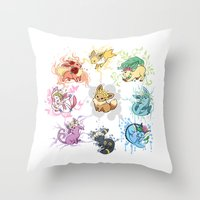 umbreon Throw Pillows featuring Eeveelutions by Leonie X. Li