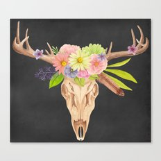 Deer Skull and Flowers Canvas Print