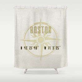 Boston - Vintage Map and Location Shower Curtain