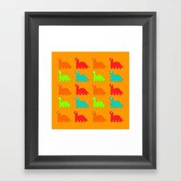 Cute Dino Pattern Walking Dinosaurs Framed Art Print