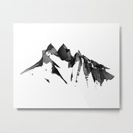 Mountain Painting | Landscape | Black and White Minimalism | By Magda Opoka Metal Print