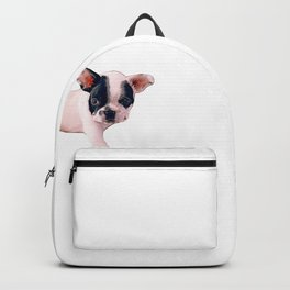 black and white puppy Backpack