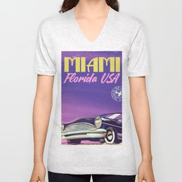 Miami Florida vintage travel poster Unisex V-Neck