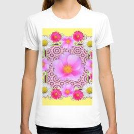 Floral Abundance yellow color fuchsia Shasta Daisy Pink Roses Abstract Ar T-shirt