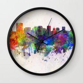 Richmond skyline in watercolor background Wall Clock