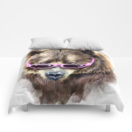 Cool shy bear Comforters