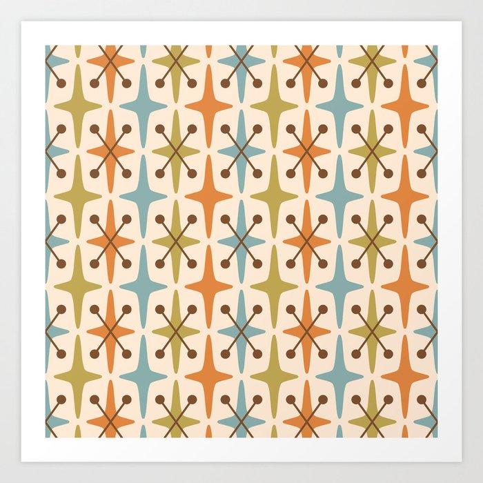 Mid Century Modern Abstract Star Pattern 441 Orange Brown Blue Olive Kunstdrucke