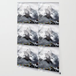 Serenity Prayer With Panoramic View Of Everest Mountain Wallpaper
