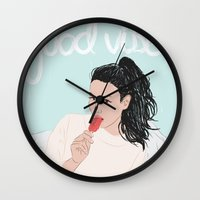 good vibes Wall Clocks featuring Good Vibes by Elly Liyana
