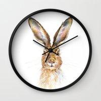 hare Wall Clocks featuring HARE by Patrizia Ambrosini