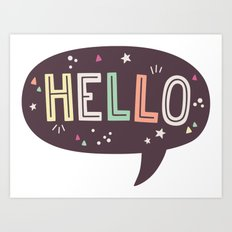 Hello Speech Bubble Art Print