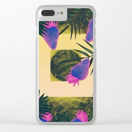 Neon Strawberries in the Night #2 Clear iPhone Case