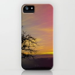 Old tree and colorful sundown panorama | landscape photography iPhone Case