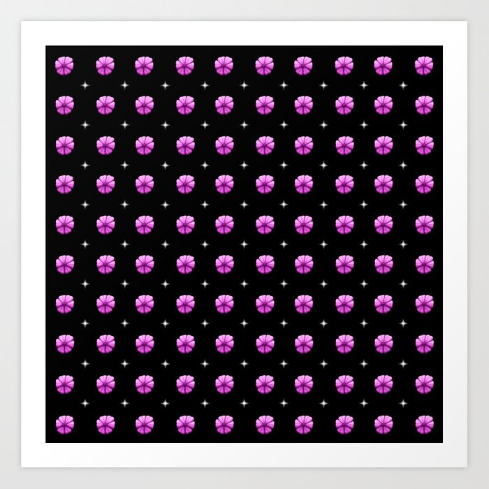 White stars purple flowers grid Art Print